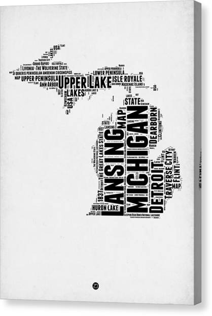 Michigan Canvas Print - Michigan Word Cloud Map 2 by Naxart Studio