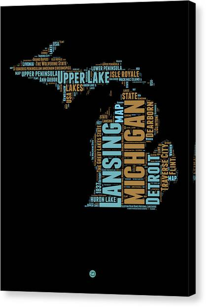 Michigan Canvas Print - Michigan Word Cloud Map1 by Naxart Studio