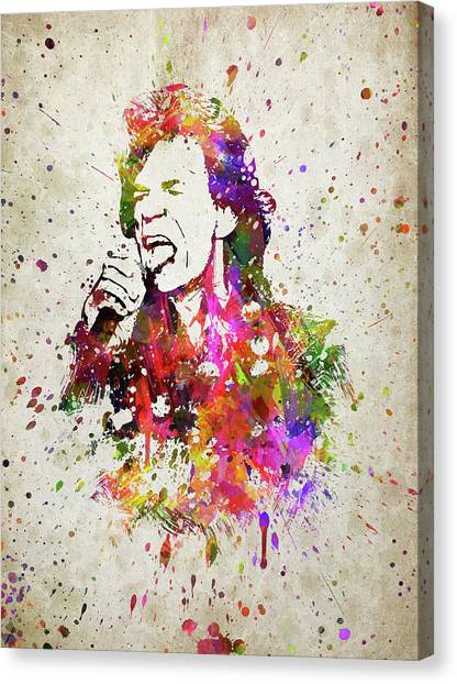 Rolling Stones Canvas Print - Mick Jagger In Color by Aged Pixel