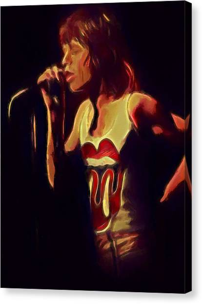 Moves Like Jagger Canvas Print - Mick Jagger Singing by Dan Sproul