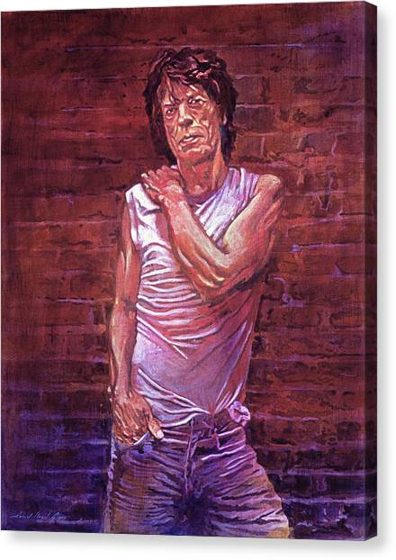 Rolling Stones Canvas Print - Mick Jagger The Wall by David Lloyd Glover
