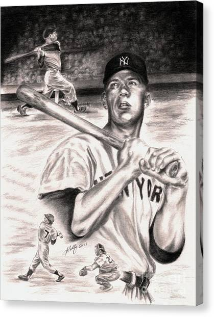 Mickey Mantle Canvas Print - Mickey Mantle by Kathleen Kelly Thompson