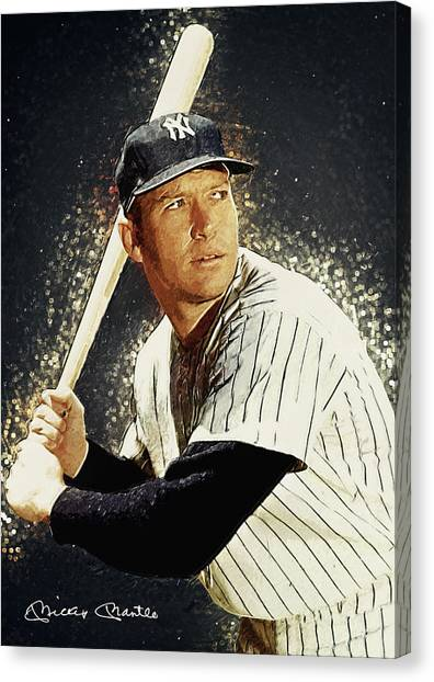 Babe Ruth Canvas Print - Mickey Mantle by Zapista