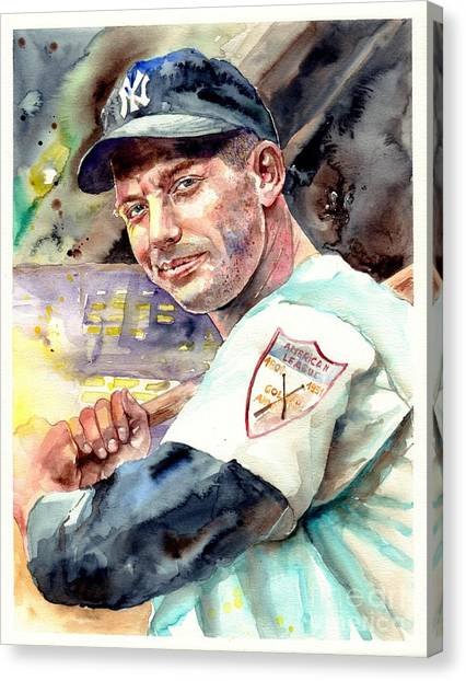 Athlete Canvas Print - Mickey Mantle Watercolor by Suzann's Art