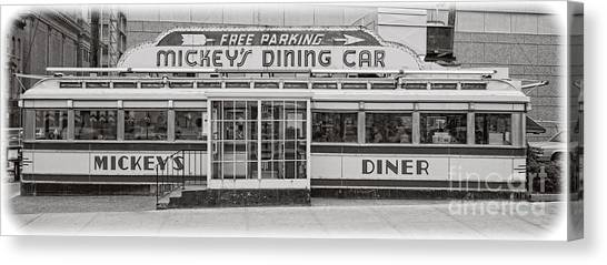 Diners Canvas Print - Mickey's Dining Car by Edward Fielding