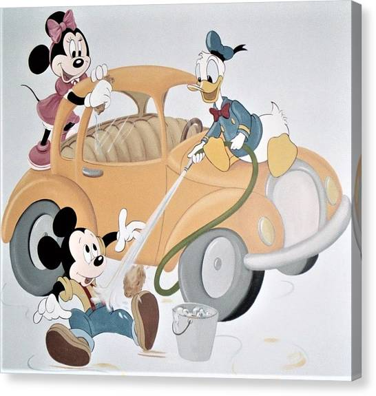 Micky,minnie And Donald On Car Canvas Print