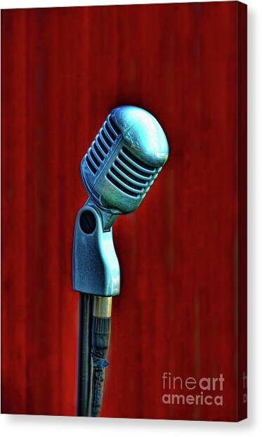 Microphones Canvas Print - Microphone by Jill Battaglia