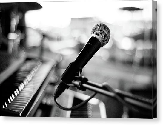 Absence Canvas Print - Microphone On Empty Stage by Image By Randymsantaana