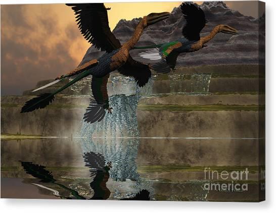 Velociraptor Canvas Print - Microraptor by Corey Ford