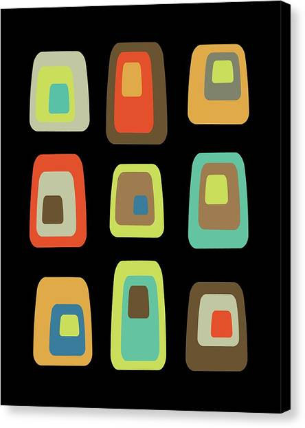 Mid Century Modern Oblongs On Black Canvas Print