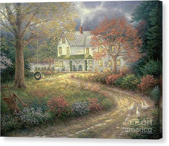 White House Canvas Print - Mid Country Farmhouse by Chuck Pinson