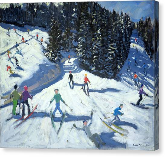 Tumbling Canvas Print - Mid-morning On The Piste by Andrew Macara