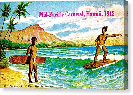 Mid Pacific Carnival Hawaii Surfing 1915 Canvas Print
