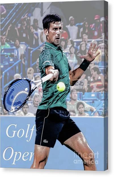 Novak Djokovic Canvas Print - Mid Swing by Ed Taylor
