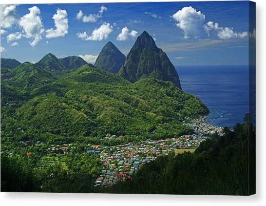 World Heritage Site Canvas Print - Midday- Pitons- St Lucia by Chester Williams