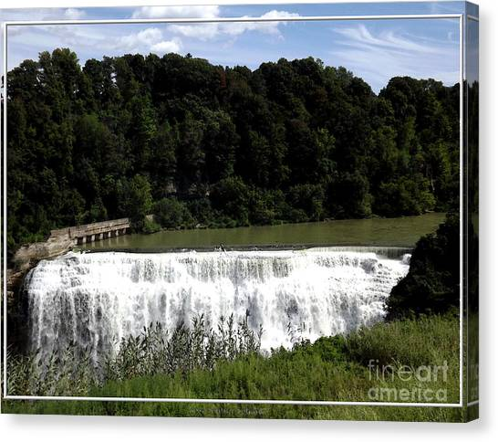 Canvas Print featuring the photograph Middle Falls In Rochester New York by Rose Santuci-Sofranko