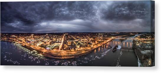 Middletown Connecticut, Twilight Panorama Canvas Print