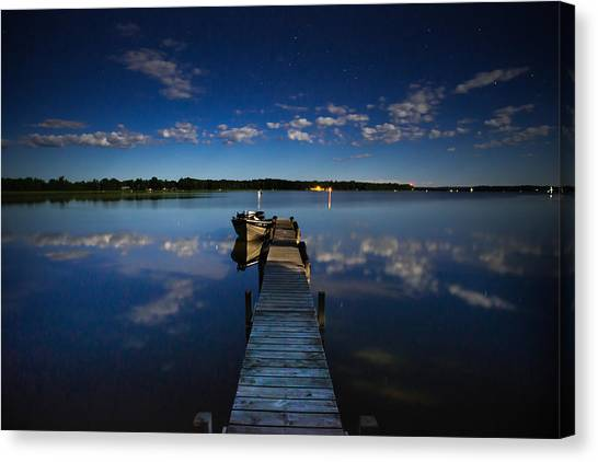 Midnight At Shady Shore On Moose Lake Minnesota Canvas Print