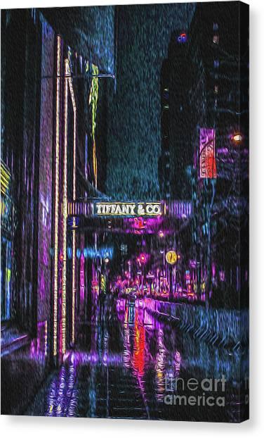 Midnight At Tiffany Painting Canvas Print