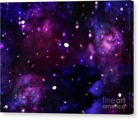 Midnight Blue Purple Galaxy Canvas Print
