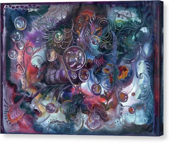 Midnight Dancing Bubbles Canvas Print