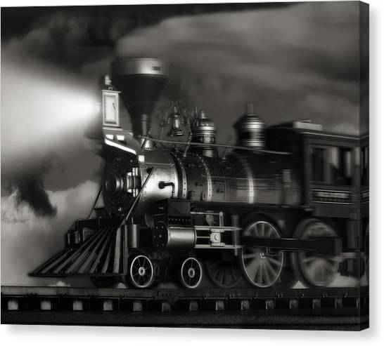 Railroads Canvas Print - Midnight Flyer by Tom Mc Nemar