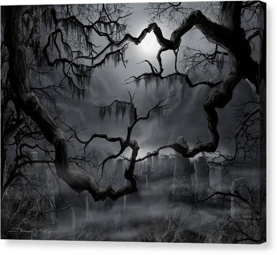 Midnight In The Graveyard II Canvas Print