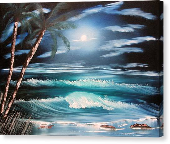 Midnight Ocean Canvas Print by Sheldon Morgan