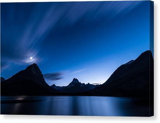 Glacier National Park Canvas Print - Midnight Over Glacier National Park by Steve Gadomski