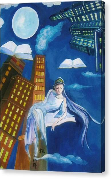 Midnight Reader Canvas Print by Min Wang