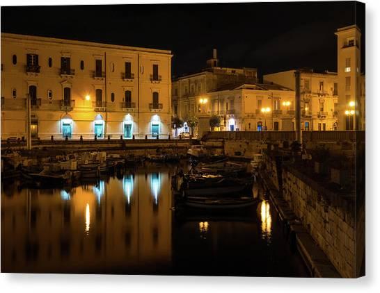 Midnite Canvas Print - Midnight Silence And Solitude - Syracuse Sicily Illuminated Waterfront by Georgia Mizuleva