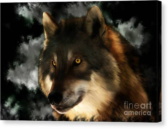 Midnight Stare - Wolf Digital Painting Canvas Print