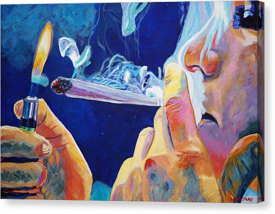 Marijuana Canvas Print - Midnight Toker by Anita Toke