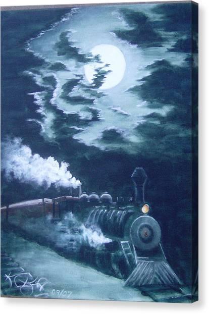 Midnight Train Canvas Print by KC Knight