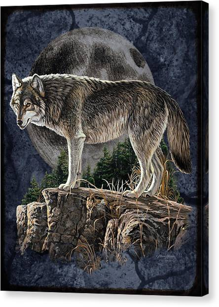 Wolf Moon Canvas Print - Midnight Wolf by JQ Licensing