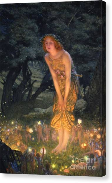 Night Lights Canvas Print - Midsummer Eve by Edward Robert Hughes