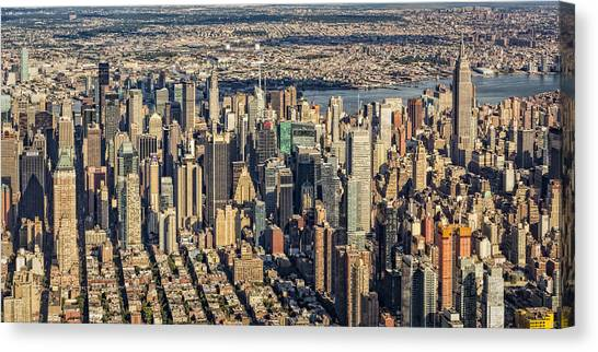 Empire State Building Canvas Print - Midtown Manhattan Nyc Aerial View by Susan Candelario