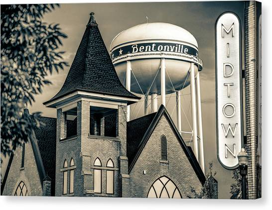 Northwest Canvas Print - Midtown Neon On The Bentonville Arkansas Square - Sepia by Gregory Ballos