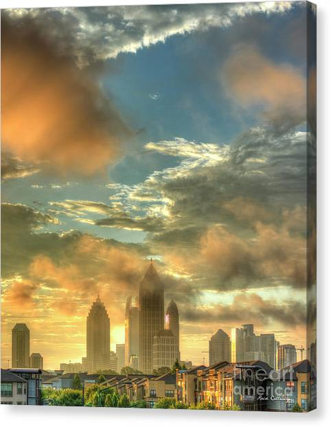Emory University Canvas Print - Atlanta Sunrise 7 Atlantic Station Art by Reid Callaway