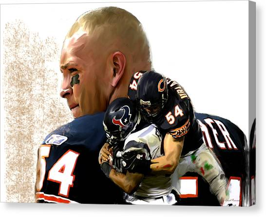 Dick Butkus Canvas Print - Midway II Brian Urlacher by Iconic Images Art Gallery David Pucciarelli