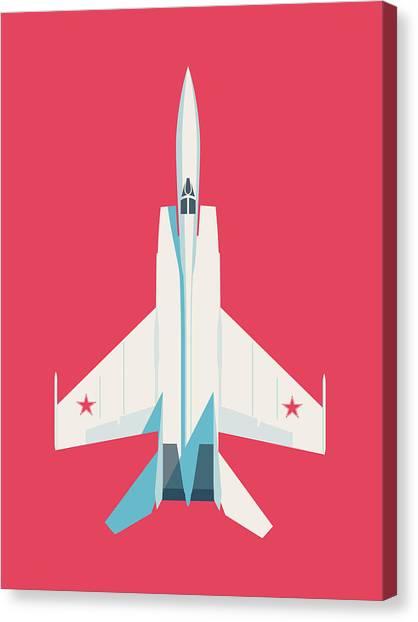 Cold War Canvas Print - Mig-25 Foxbat Interceptor Jet Aircraft - Crimson by Ivan Krpan