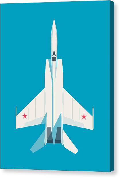 Cold War Canvas Print - Mig-25 Foxbat Interceptor Jet Aircraft - Cyan by Ivan Krpan