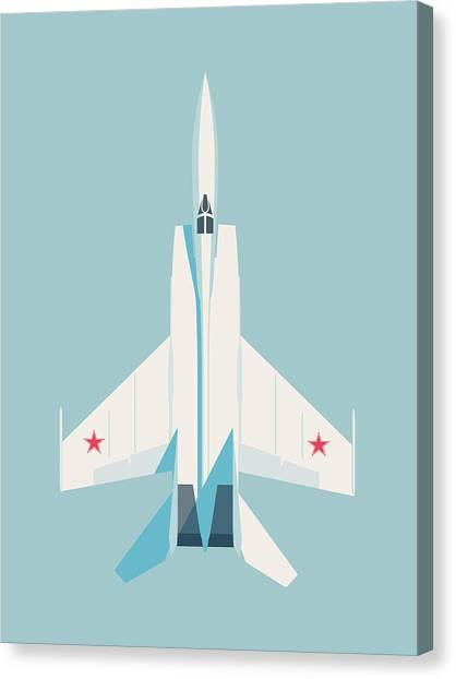 Cold War Canvas Print - Mig-25 Foxbat Interceptor Jet Aircraft - Sky by Ivan Krpan