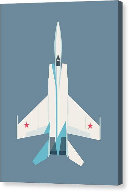 Cold War Canvas Print - Mig-25 Foxbat Interceptor Jet Aircraft - Slate by Ivan Krpan