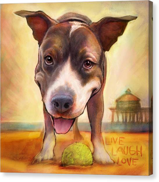 Pit Bull Canvas Print - Live. Laugh. Love. by Sean ODaniels