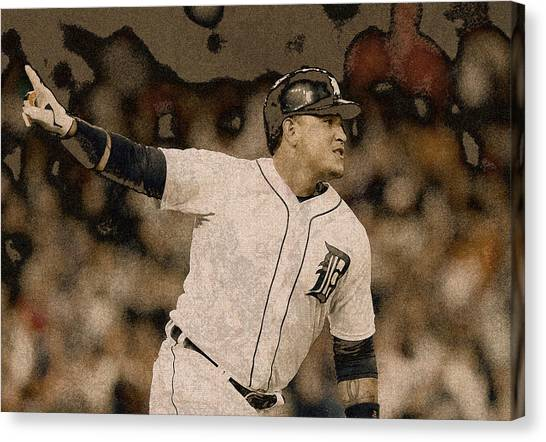 Detroit Tigers Canvas Print - Miguel Cabrera Detroit Tigers Painting by Design Turnpike