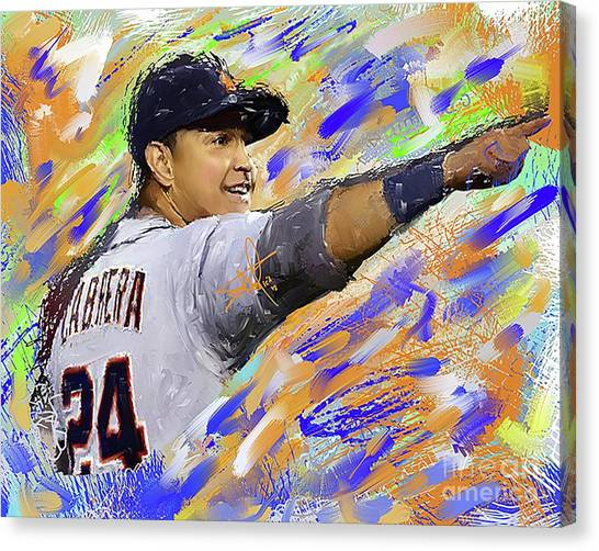 Detroit Tigers Canvas Print - Miguel Cabrera Pointing by Donald Pavlica