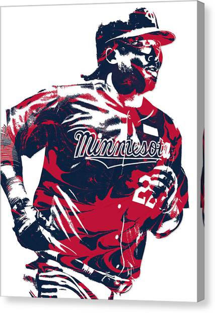 Minnesota Twins Canvas Print - Miguel Sano Minnesota Twins Pixel Art 1 by Joe Hamilton