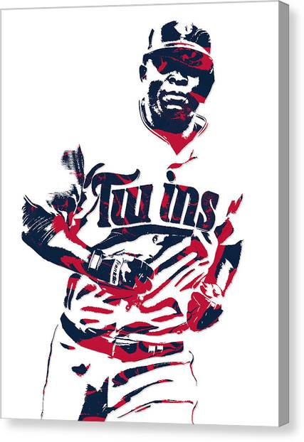 Minnesota Twins Canvas Print - Miguel Sano Minnesota Twins Pixel Art 3 by Joe Hamilton