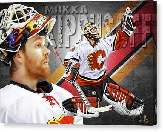 Calgary Flames Canvas Print - Miikka Kiprusoff by Don Olea